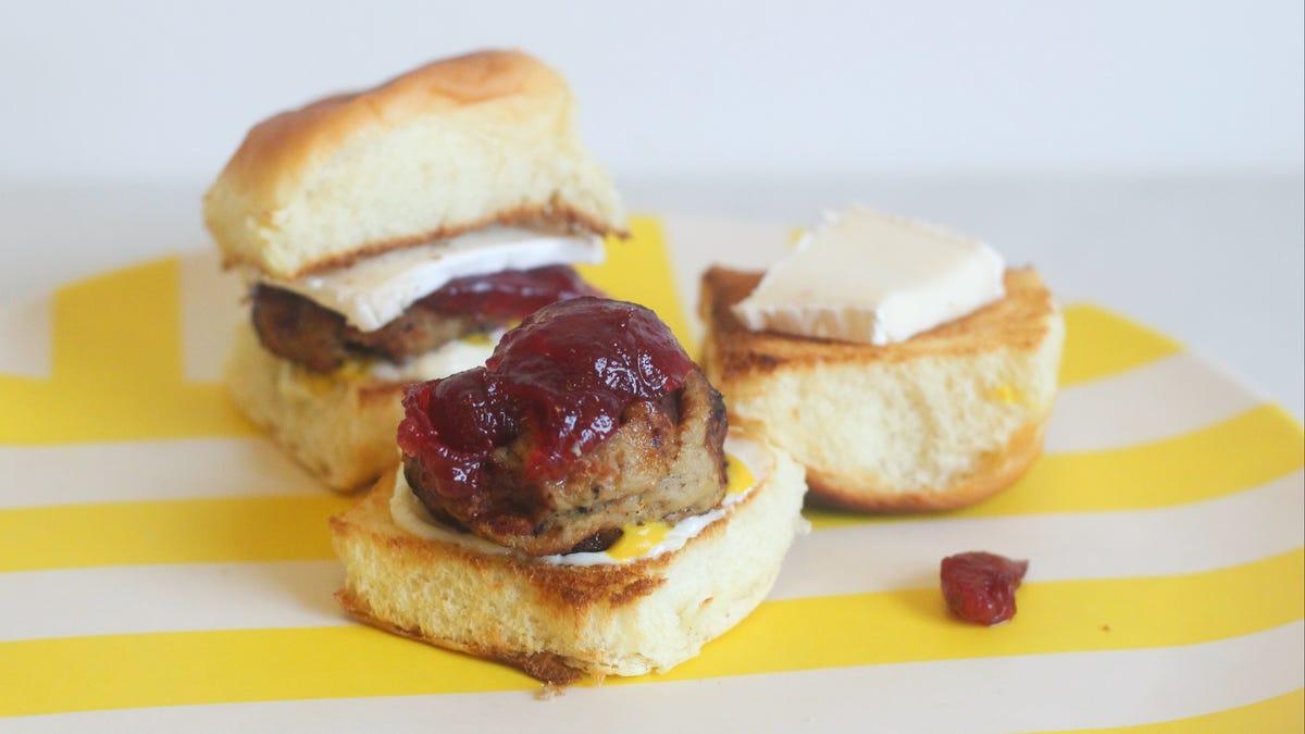 Waffle Frozen Turkey Meatballs to Make Thanksgiving Sliders
