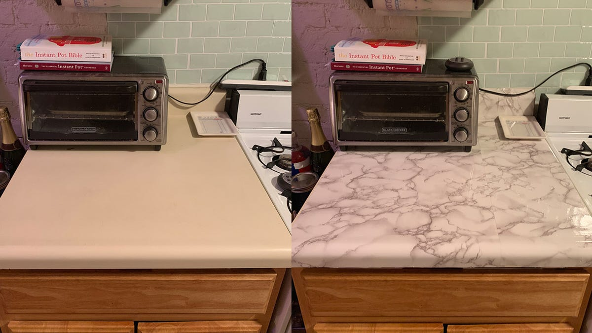 I Faked Nice Countertops With These Marble Stickers