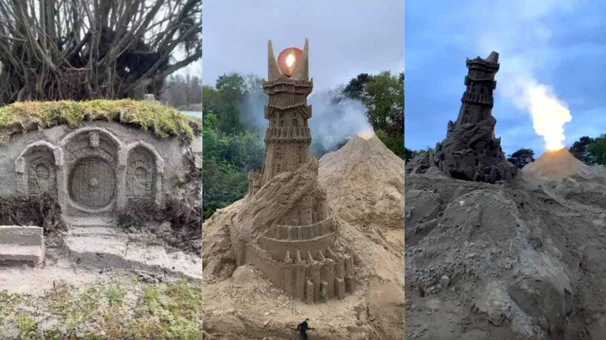 Middle-earth takes a beach day with LOTR sand castles