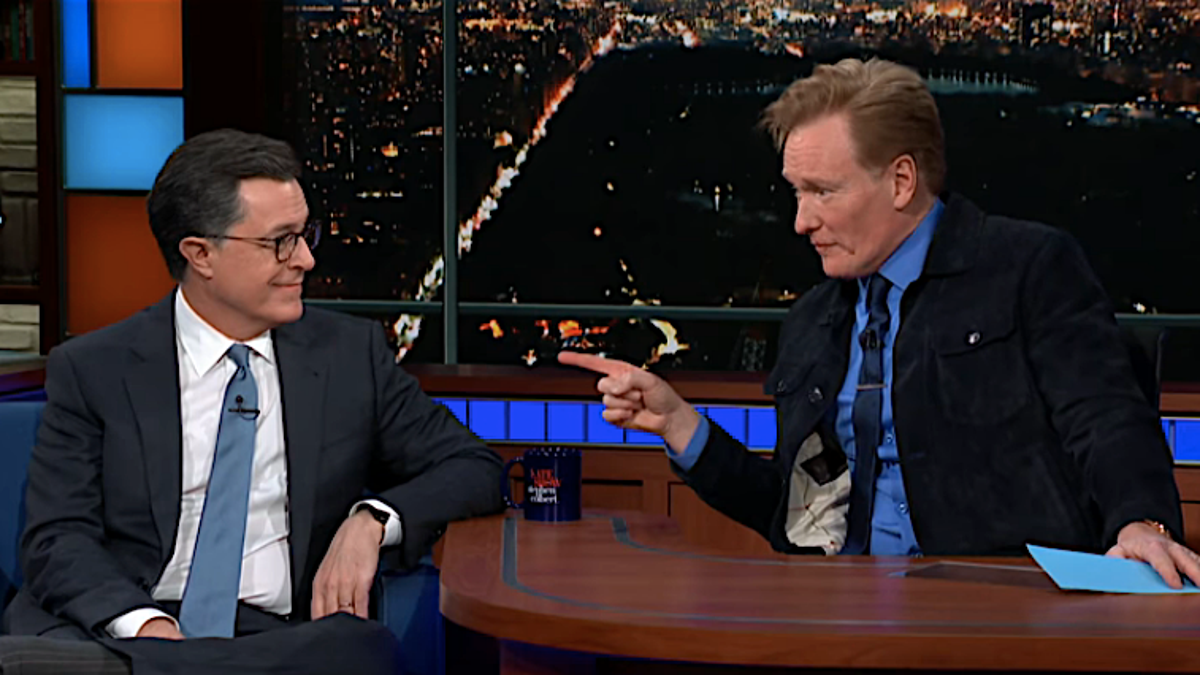 Failed Conan O'Brien writer Stephen Colbert is re-interviewed on <i>The Late Show</i>