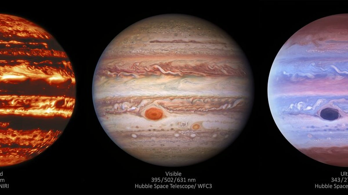 Jupiter Looks Serene in Ultraviolet and Absolutely Terrifying in Infrared