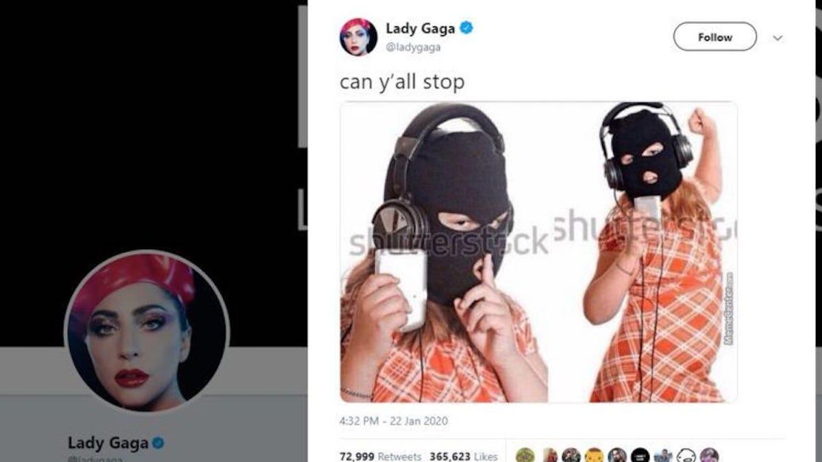 Si vas a criticar la piratería no hagas como Lady Gaga subiendo la primera imagen que ves en Google