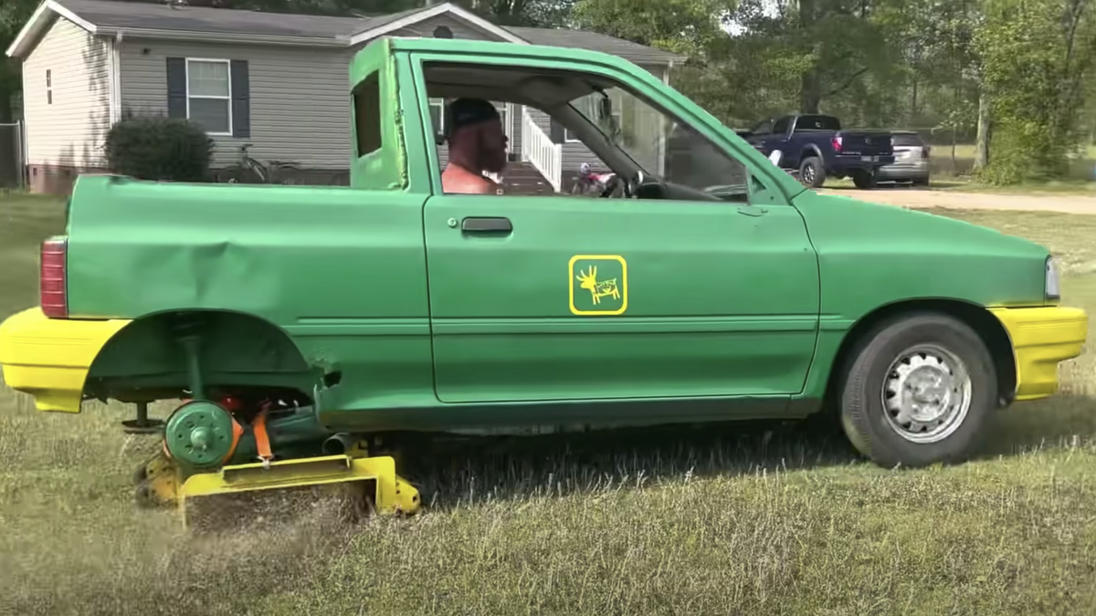 You Lawn Mower Will Never Be As Cool As This Ford Festiva Lawn Mower