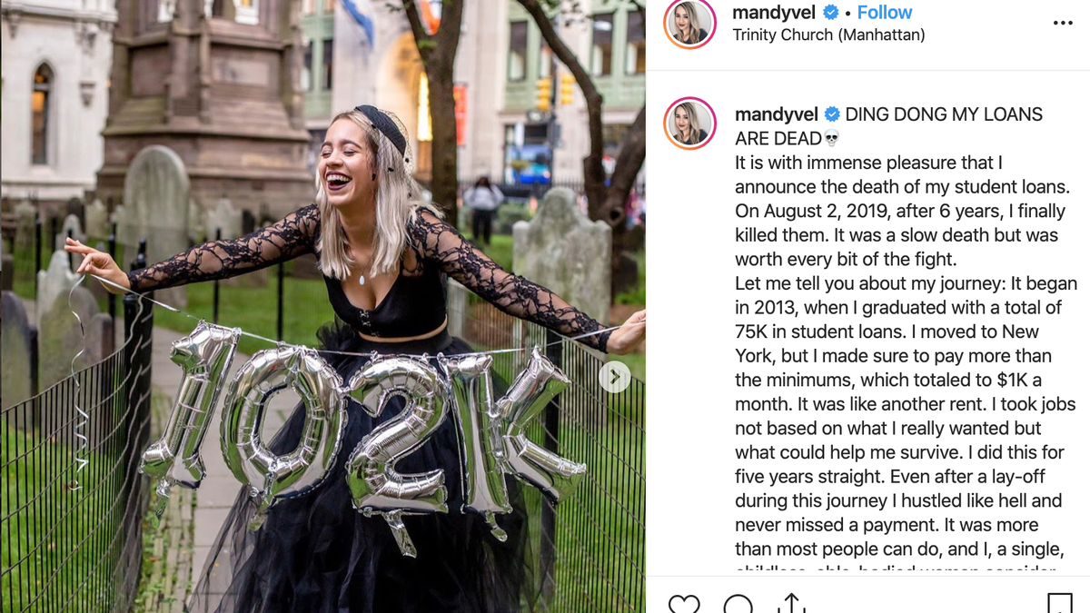 Woman Holds Funeral Photo Shoot for Her Student Loans