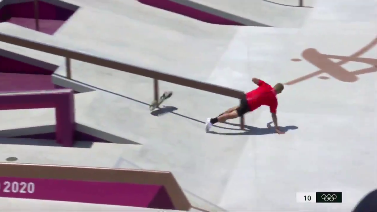 SEE IT: Olympic skateboarder falls nuts first into rail