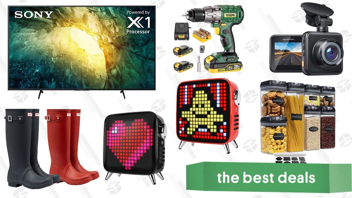 "Saturday's Best Deals: Hunter Boots, Teccpo Tools, Apeman Dashcam, Sony 55"" 4K TV, Pixel Art Bluetooth Speakers, and More"