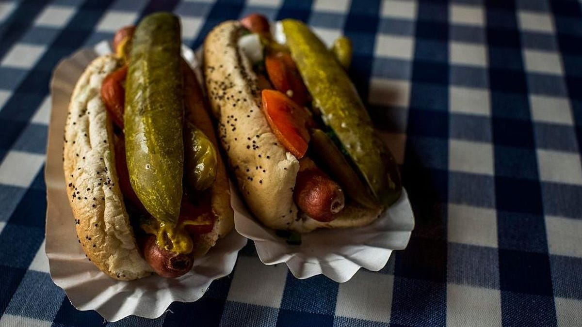 The Chicago-style char dog is a nod to backyard barbecue
