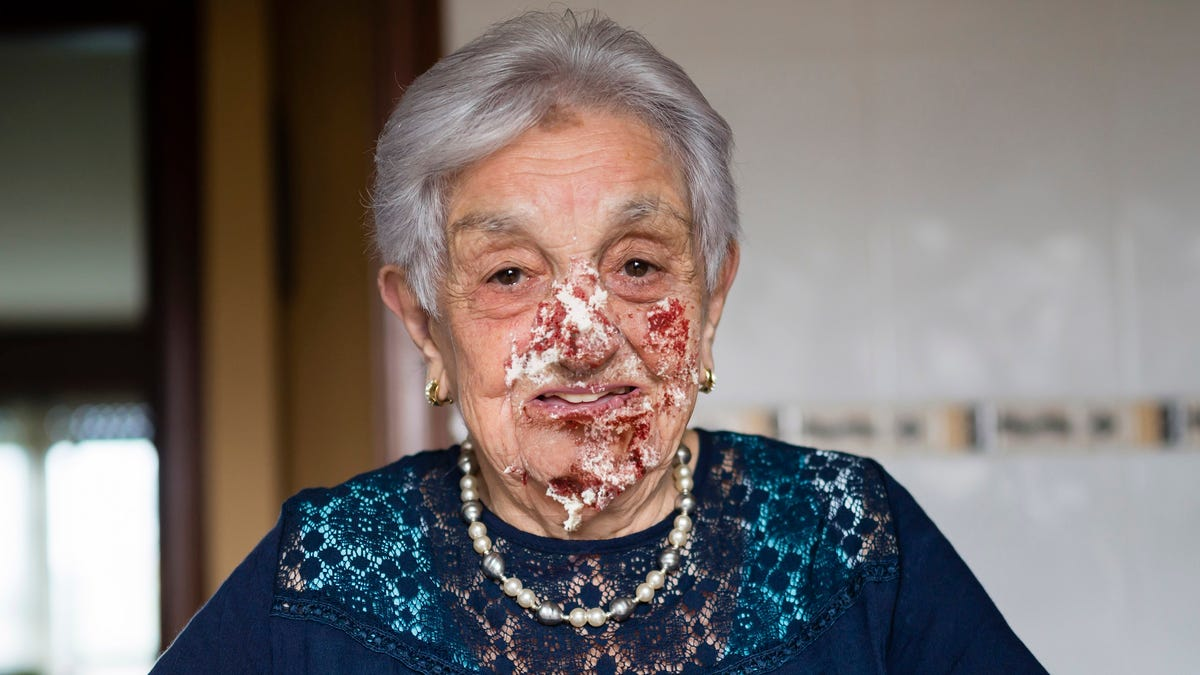 Record 7% Of Birthday Cake Slice Makes It Into Grandmother's Mouth