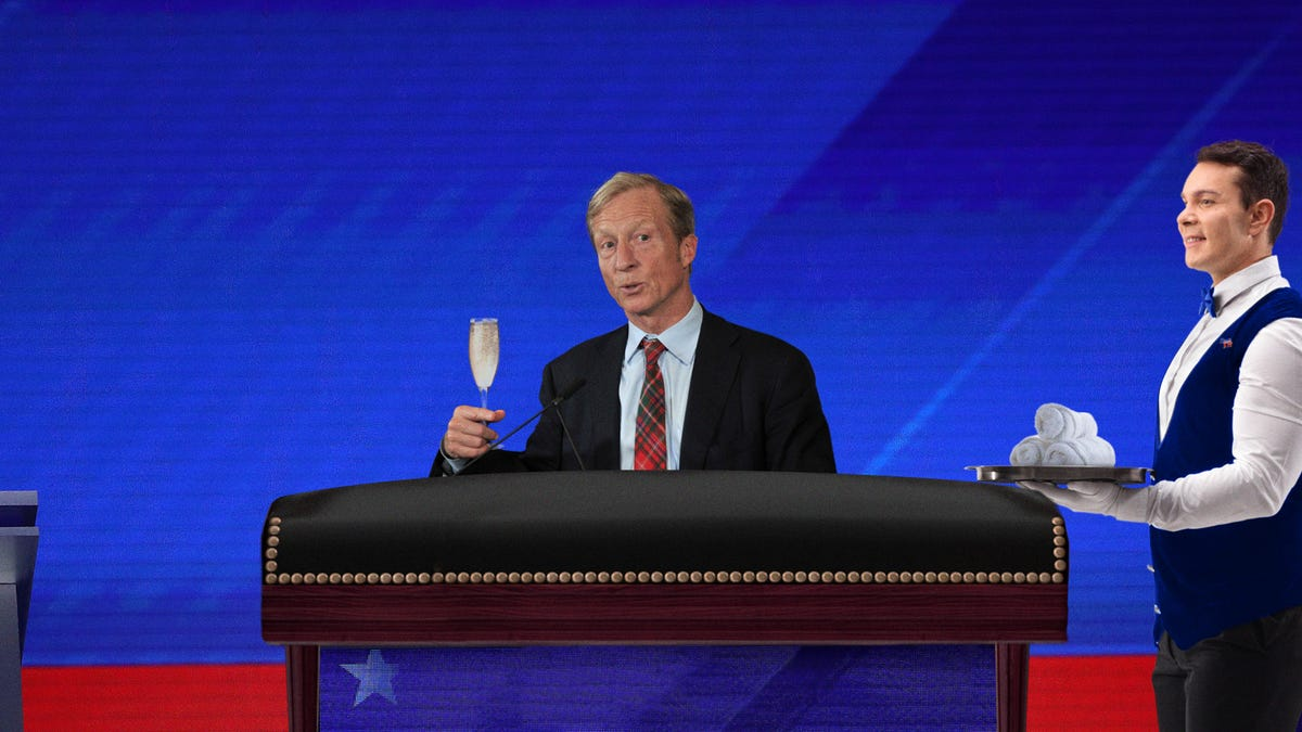 Tom Steyer Upgrades To Luxury-Class Debate Section With Hot Towels, Beverage Service
