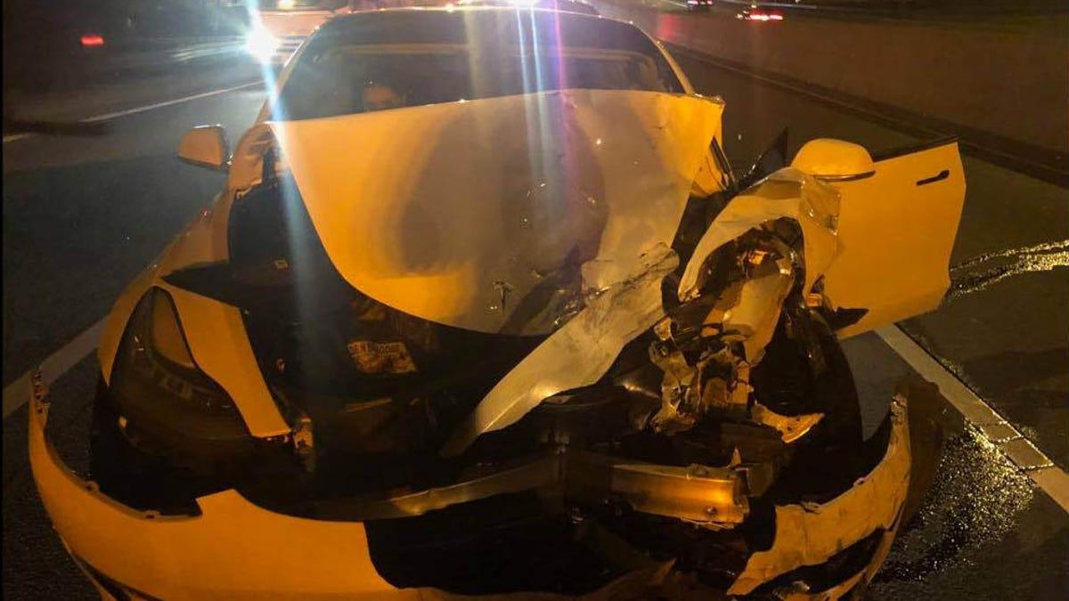 Estrella su Tesla contra un coche patrulla de la policía porque estaba atendiendo al perro