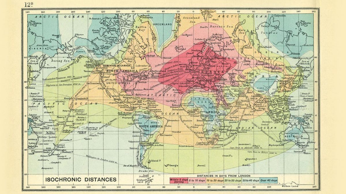 This Map Shows Just How Long Travel Took 100 Years Ago
