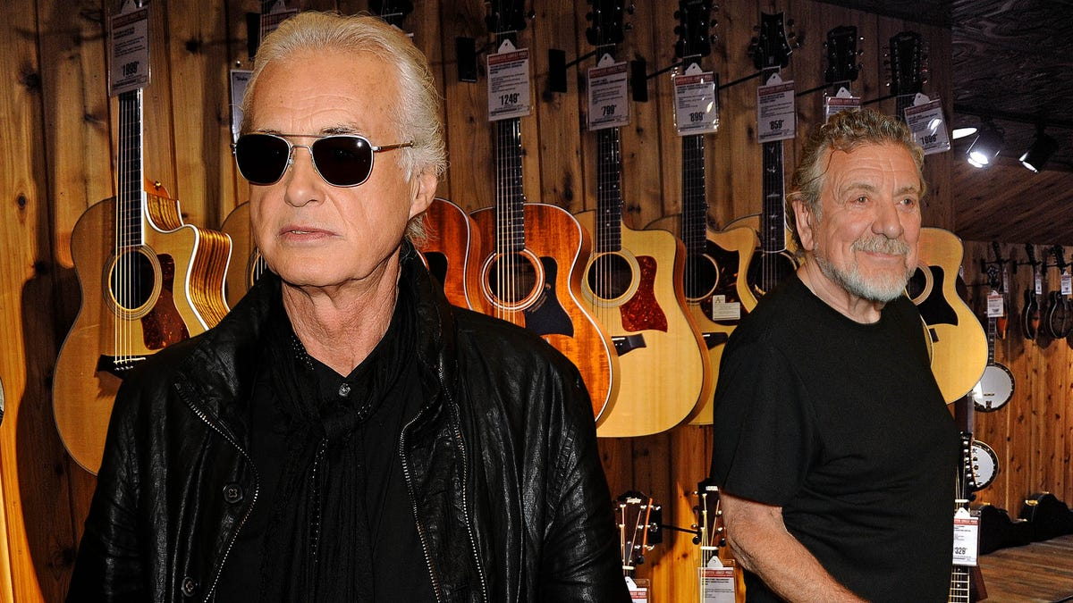 a reunion in the works robert plant and jimmy page were spotted at guitar center buying a led. Black Bedroom Furniture Sets. Home Design Ideas