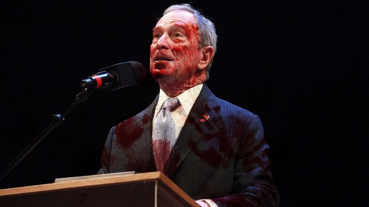 Blood-Soaked Mayor Bloomberg Announces Homelessness No Longer A Problem In New York City