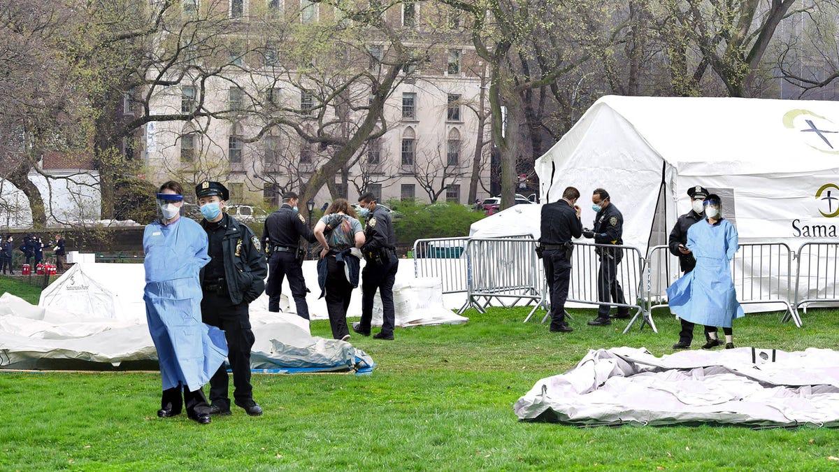 ΑΣΤΥΝΟΜΊΑ Καταστρέφει το Central Park Νοσοκομείο Σκηνές Για την Παραβίαση Υπαίθρια Κατασκήνωση Νόμους