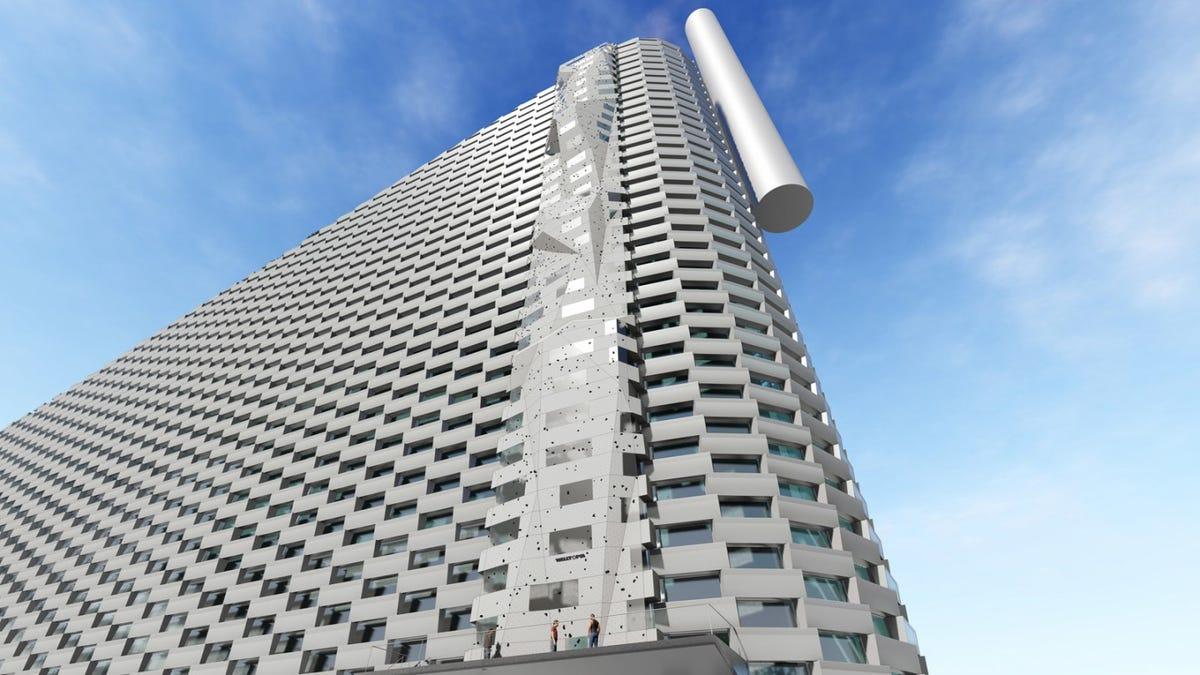Esta locura de edificio tiene la pared de escalada más alta del mundo