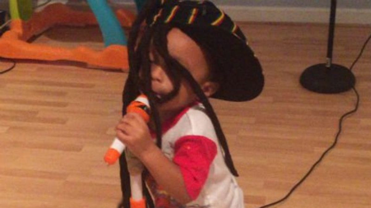Just try and resist this 2-year-old Bob Marley impersonator