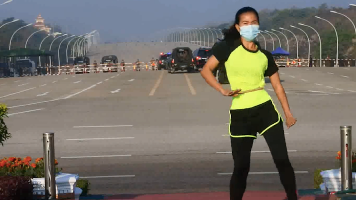 A Fitness Instructor Accidentally Caught Myanmar's Coup While Filming Her Dance Routine