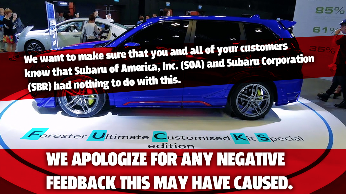 Subaru Of America Is Being Super Lame Right Now About The Subaru FUCKS
