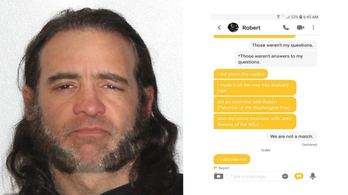 This Man Apparently Thought Telling People On Bumble He Stormed the Capitol Would Get Him a Date, But Instead It Got Him Arrested