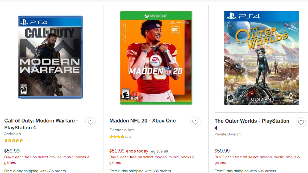 Get a Free Video Game From Amazon and Target's Limited Buy-2-Get-1 Deals