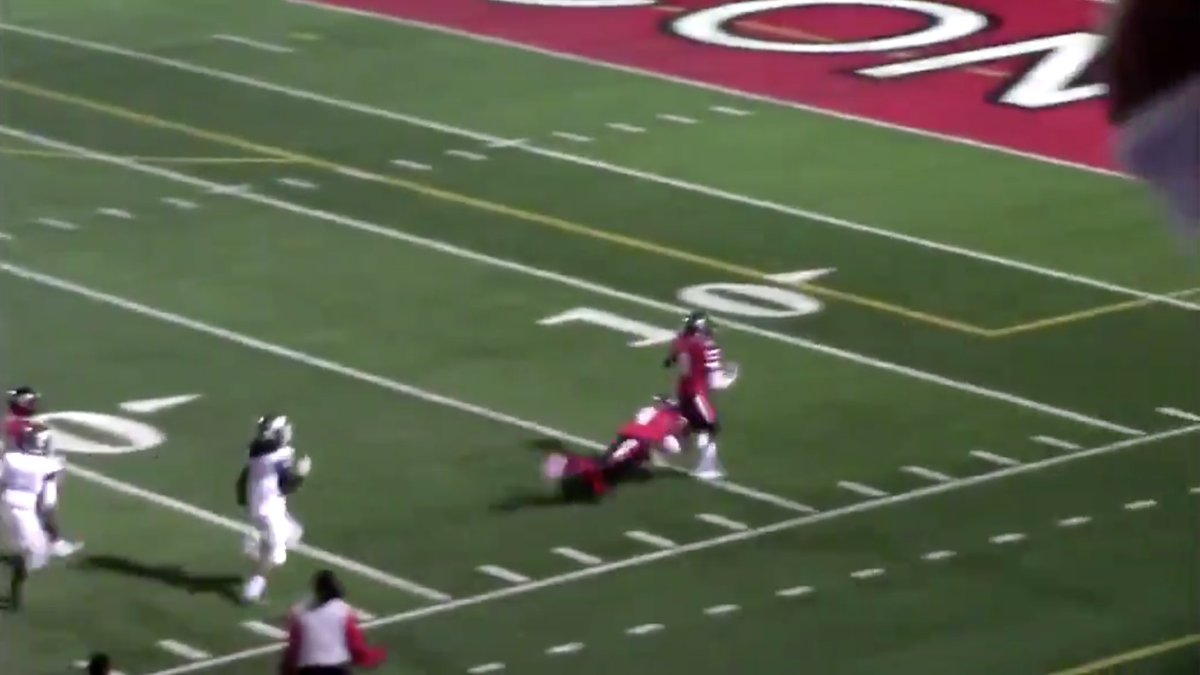 High School Football Player Forced To Tackle Teammate Running The Wrong Way On Interception