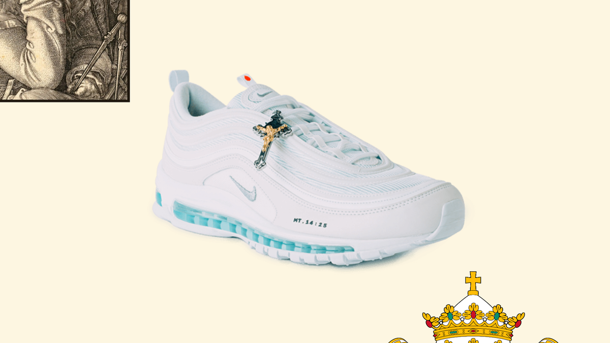 Image result for Is This Shoe OK? The $3,000 Holy Water-Filled, Frankincense-Scented Nike Air Max 97