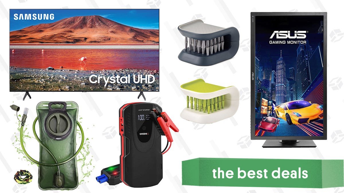 """Saturday's Best Deals: Samsung 70"""" 4K TV, Asus Gaming Monitor, Cutlery Brushes, 2L Hydration Bladder, Grepro Jump Starter, and More thumbnail"""