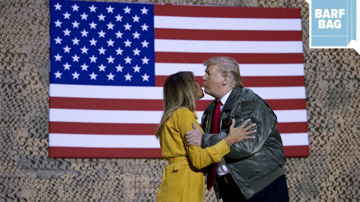 President Trump and Melania Visit Iraq, Smooch