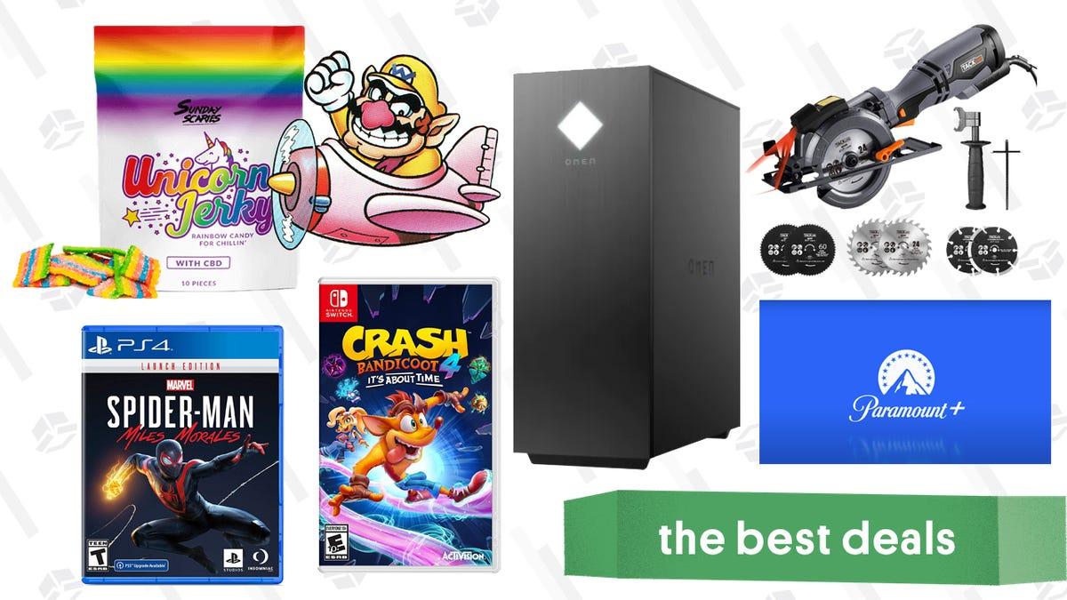 Monday's Best Deals: HP Omen 25L Gaming Desktop, Buy 2 Get 1 Free Video Games, Tacklife Circular Saw, Unicorn Jerky CBD, Paramount+ Free Trial, and More thumbnail