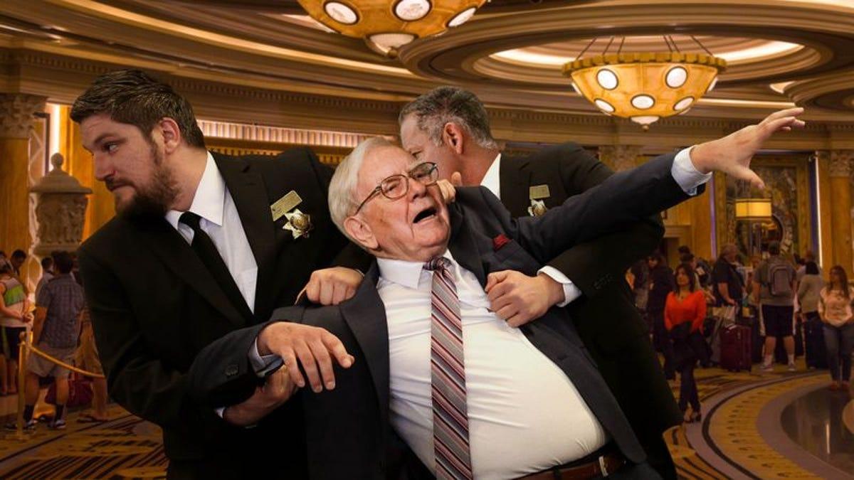 Kicking Screaming Warren Buffett Dragged From Caesars