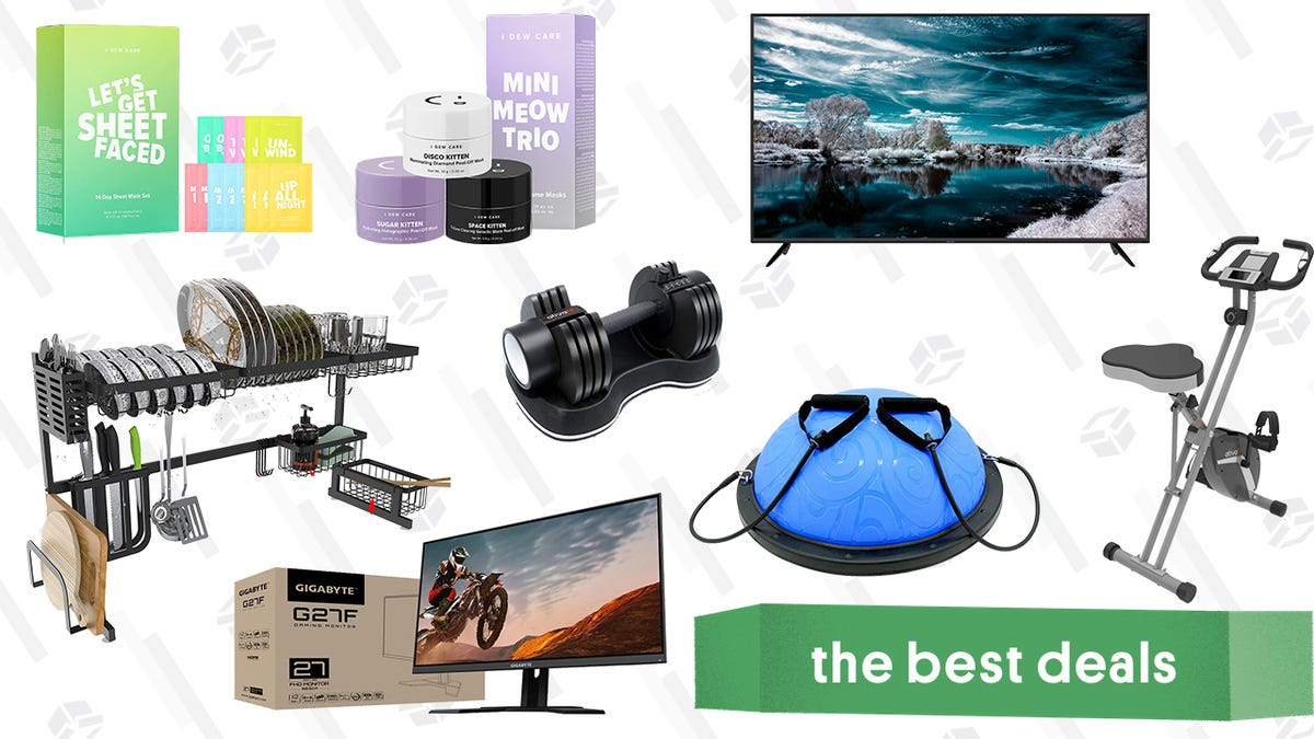 """Sharp AQUOS 70"""" Smart TV, Ativafit Exercise Equipment, Gigabyte Gaming Monitor, I Dew Care Facial Mask Sets, Over the Sink Dish Drying Racks, and More"""