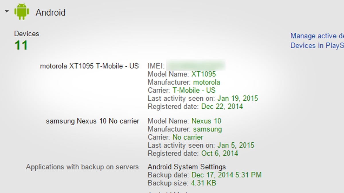 Find the IMEI of a Lost Android Phone in Your Google Dashboard