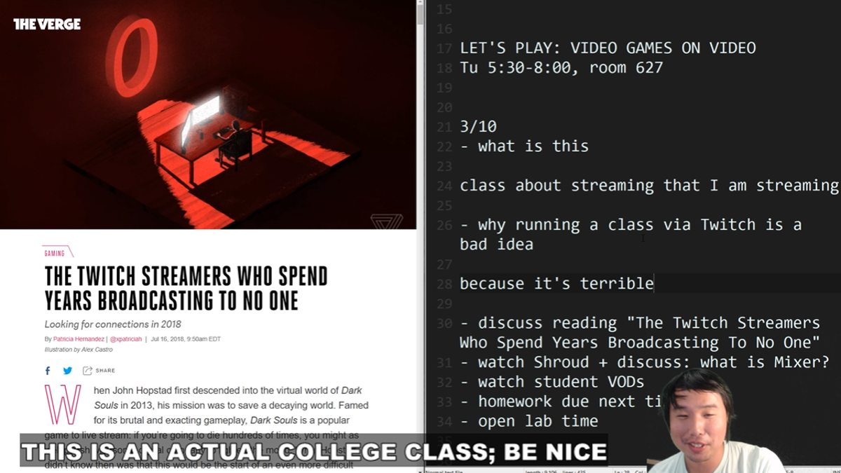 Professor Calls Student's Idea To Teach Class On Twitch 'Terrible,' Does It Anyway