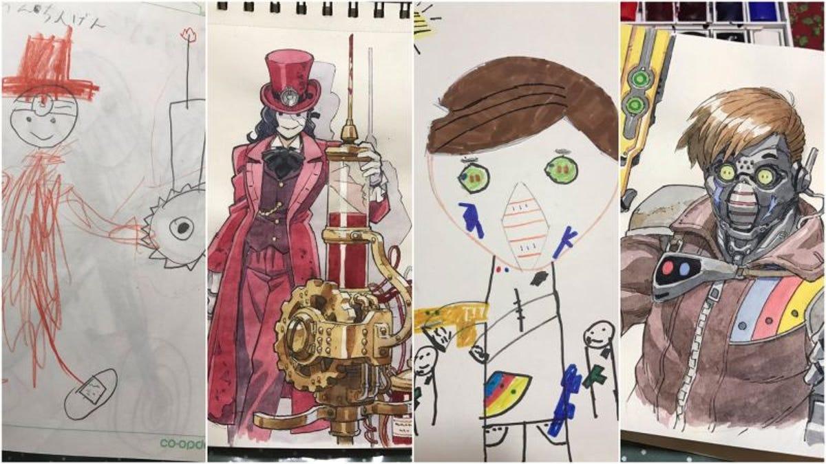Esto es lo que pasa cuando un dibujante profesional adapta los dibujos de sus hijos pequeños