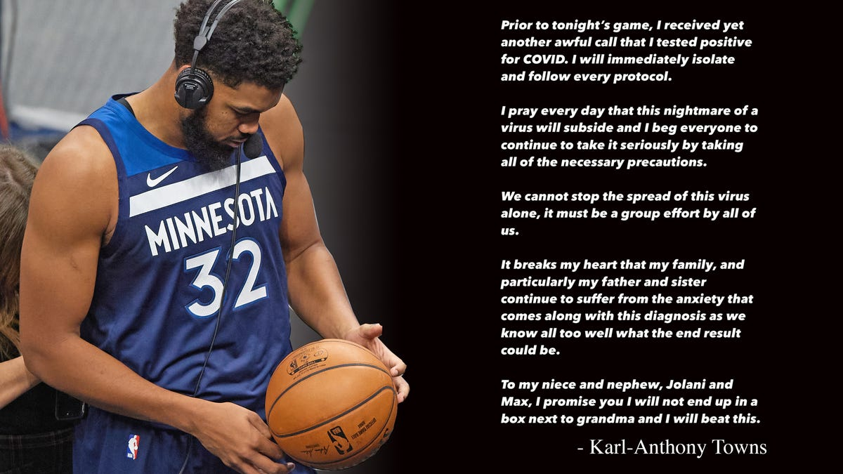 Now Karl-Anthony Towns has COVID-19, listen to him