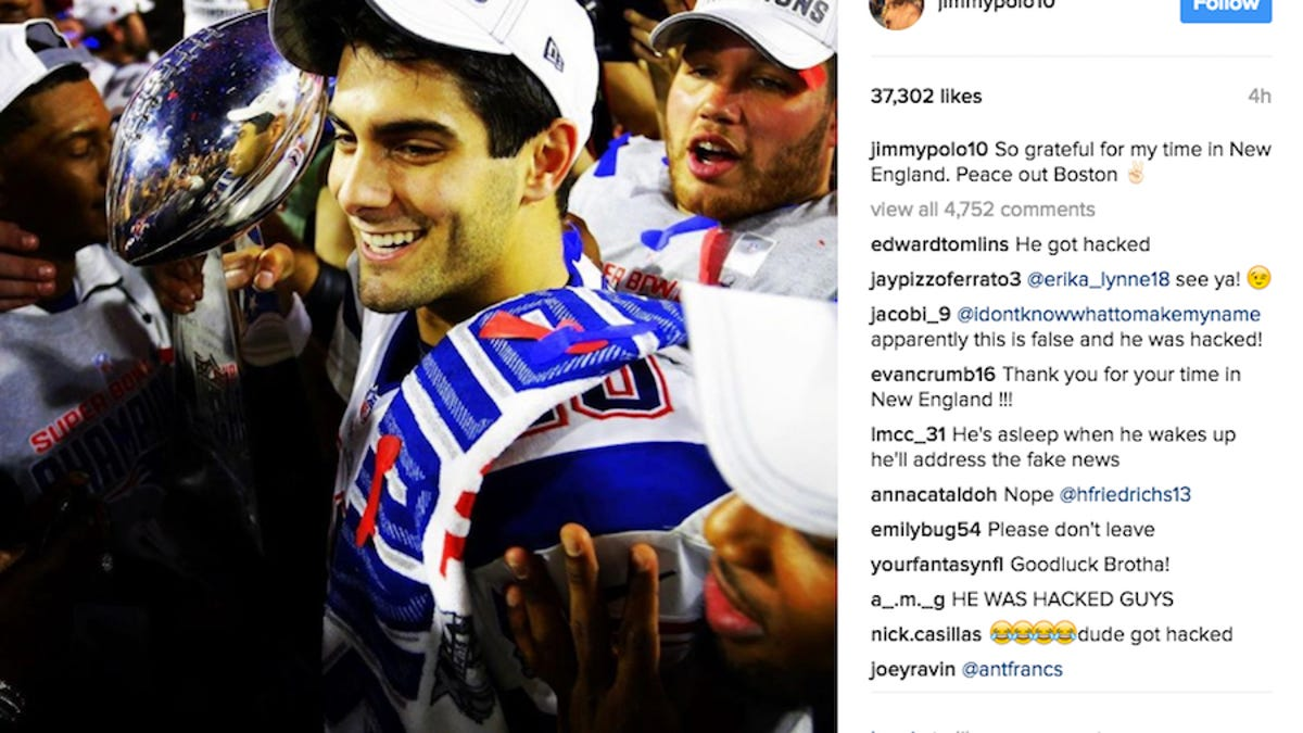 Jimmy Garoppolo Posts Goodbye To Patriots On Instagram ...Jimmy Garoppolo Patriots