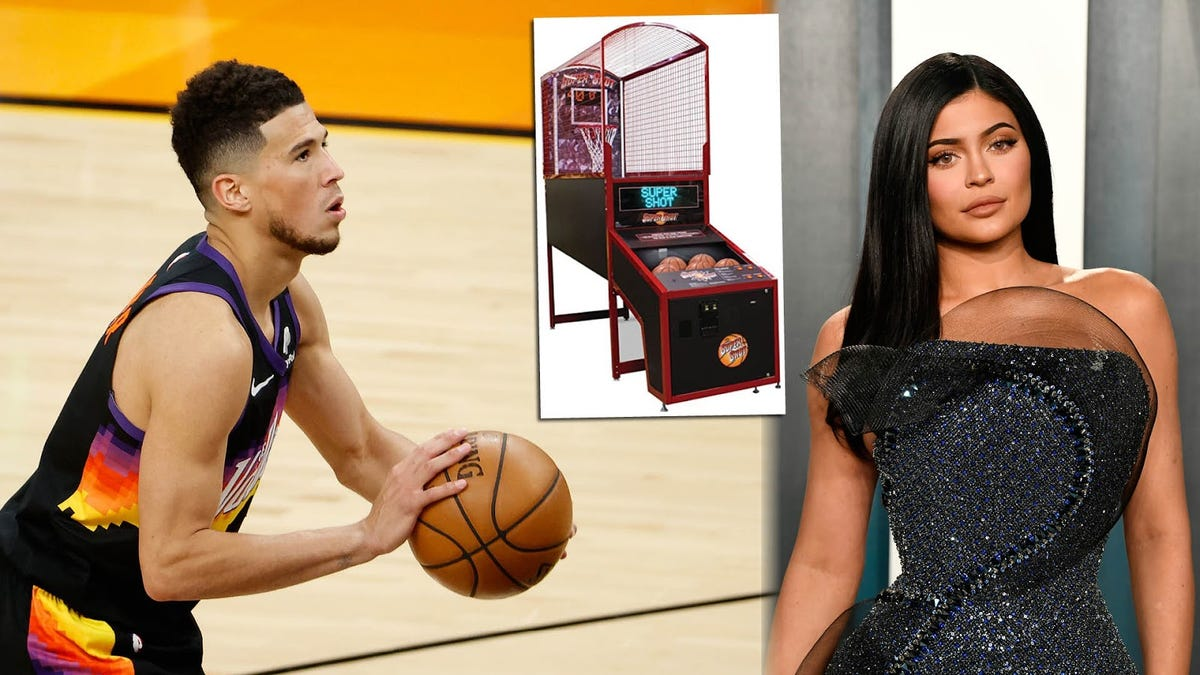 Devin Booker is not throwing away his shot … to beat gal-pal's sis Kylie Jenner at arcade hoops