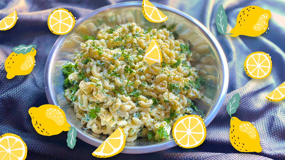 Garlicky Lemon Herb Macaroni Salad, a summer barbecue sensation