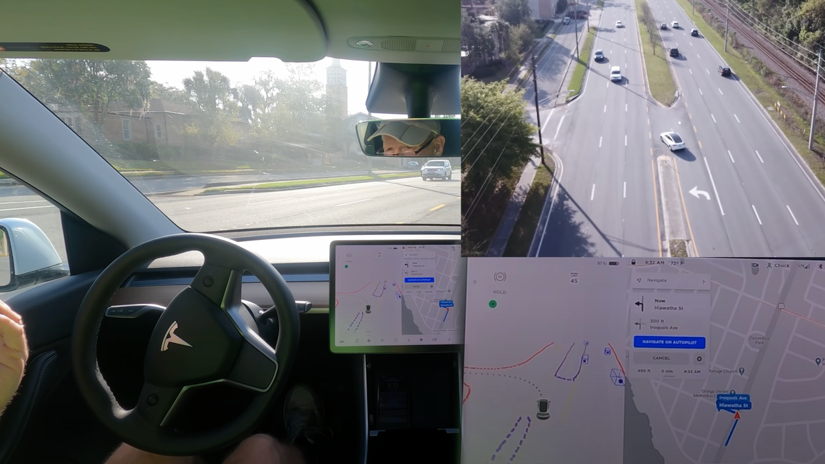 Drone Footage Of Tesla Making Unprotected Left Turns Is Seriously Terrifying