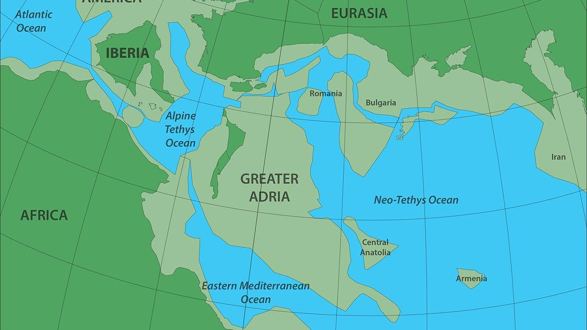 Trazan el mapa de de un continente perdido enterrado bajo lo que hoy son los países del Mediterráneo