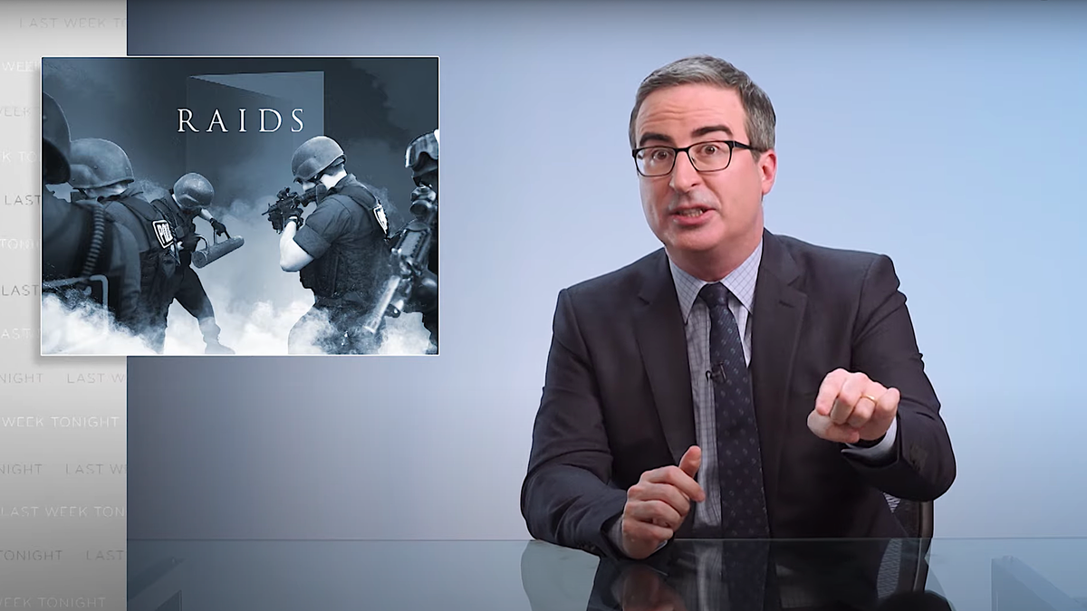 John Oliver smashes through the racially biased brutality of armed police raids