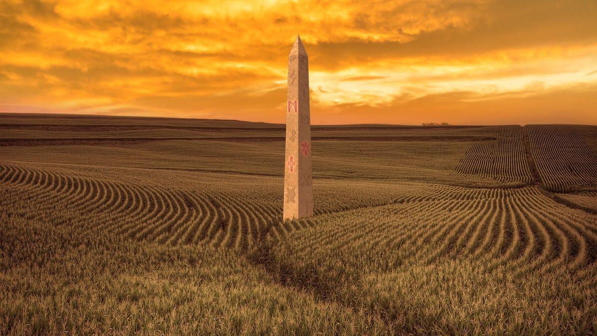 2020-Rennen Umgeworfenen Nach Der Neuen Umfrage Findet Trump, Demokraten Nachfolgende Geheimnisvolle Rune-Abgedeckt Obelisk Von 80 Punkte