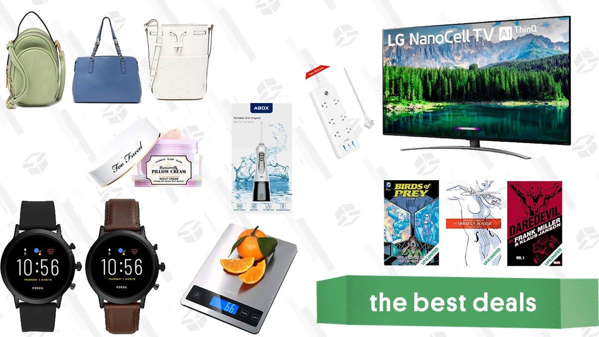 Monday's Best Deals: LG 4K TV, Nordstrom Rack Handbag Sale, Anker PowerPort Strip, Fossil Watches, and More