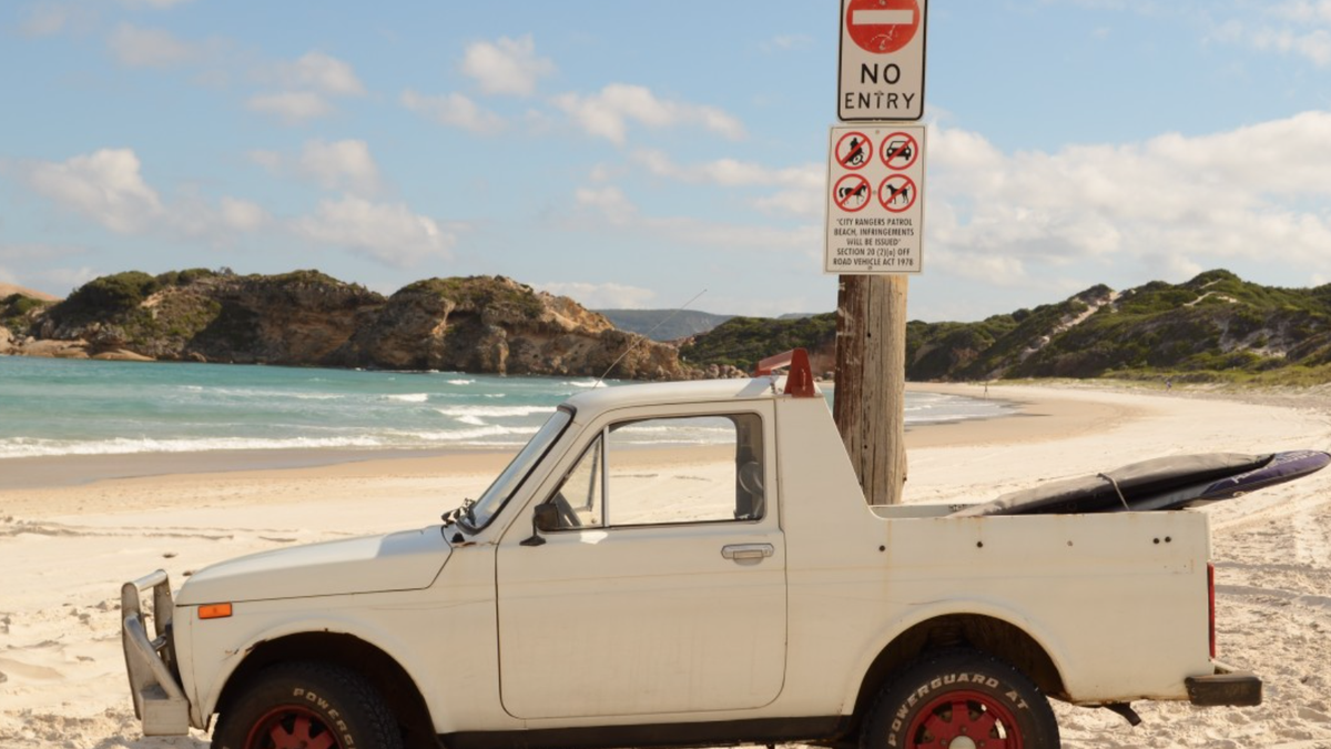 Sunday is a great time to get out there in your Lada Niva pickup conversion and hit the waves, I'd say. Go get 'em. You deserve it.