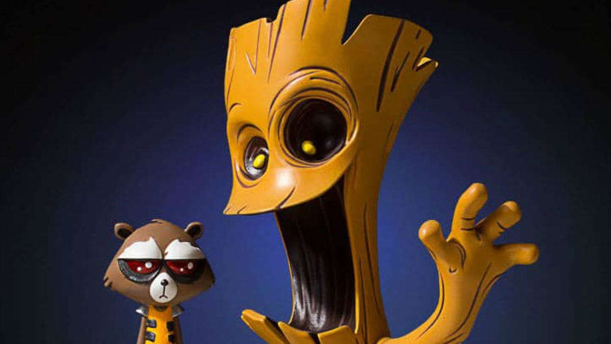 This Statue of Guardians of the Galaxy's Groot and Rocket Is Completely Precious