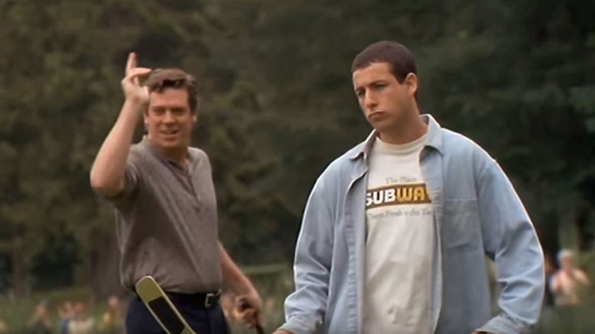 Adam Sandler celebrates 25 years of Happy Gilmore by murdering golf ball, making an Adam Sandler noise - The A.V. Club