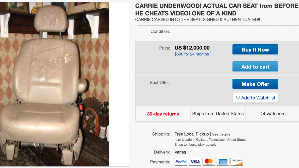 Carrie Underwood's 'Before He Cheats' Video Car Seat on eBay