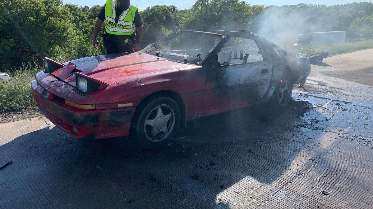 A Driver Managed To Record As A Toyota Supra Exploded On A Texas Highway
