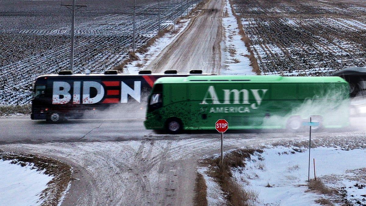 スピード民主的なキャンペーンのバスが走173Iowansに狂のダッシュの車弄の状態
