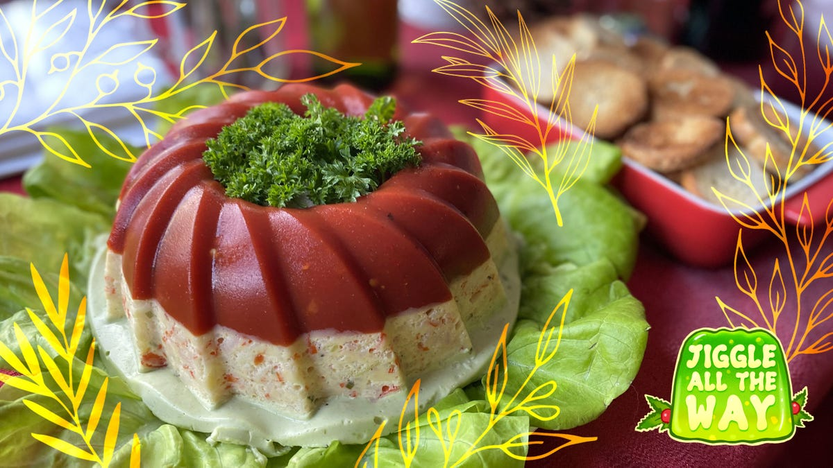 Recipe: Crab Ribbon Jell-O Salad with Avocado Mousse and Tomato